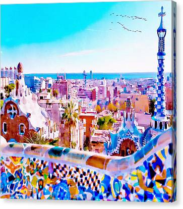 Park Guell Watercolor Painting Canvas Print by Marian Voicu