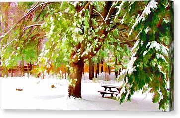 Park In Winter Canvas Print by Lanjee Chee