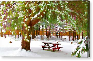 Park In Winter With Snow Canvas Print by Lanjee Chee