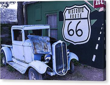 Parked Blue Truck Canvas Print by Garry Gay