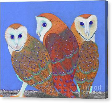 Parliament Of Owls Detail 2 Canvas Print by Tracy L Teeter