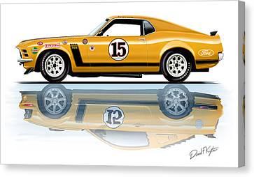 Parnelli Jones Trans Am Mustang Canvas Print by David Kyte
