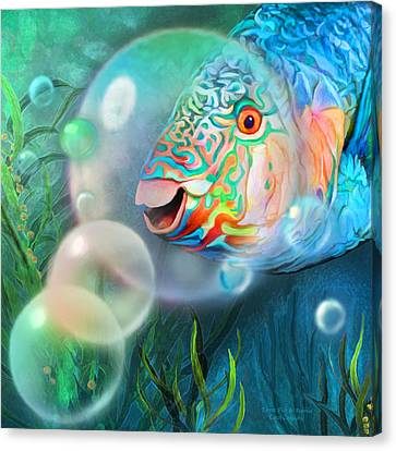 Parrot Fish - Through A Bubble Canvas Print by Carol Cavalaris
