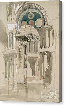 Part Of Saint Mark's Basilica, Venice  Sketch After Rain Canvas Print by John Ruskin