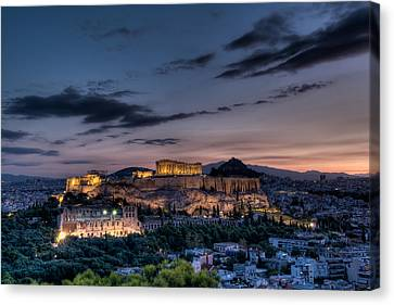 Parthenon And Acropolis At Dawn Canvas Print by Michael Avory
