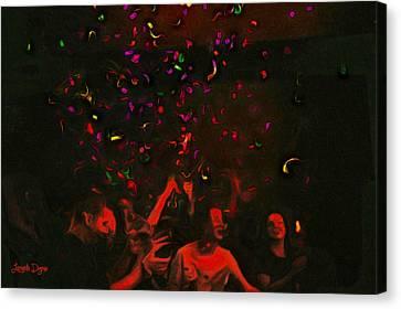 Party And Confetti - Da Canvas Print by Leonardo Digenio