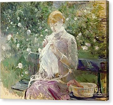 Pasie Sewing In Bougivals Garden Canvas Print by Berthe Morisot