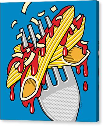 Pasta On Blue Canvas Print by Ron Magnes