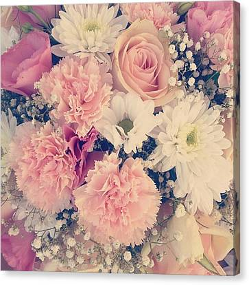 Romantic Pastel Flowers Canvas Print by Theano Exadaktylou