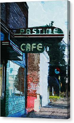Pastime Cafe- Art By Linda Woods Canvas Print by Linda Woods