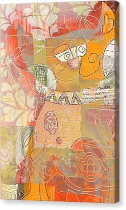 Patchwork Kitty Canvas Print by Jacky Gerritsen