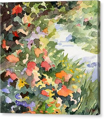 Path Monets Garden Watercolor Paintings Of France Canvas Print by Beverly Brown Prints