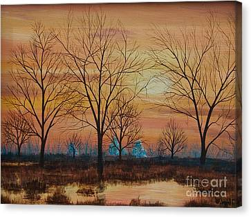 Patomac River Sunset Canvas Print by AnnaJo Vahle