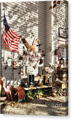 Patriotic Antiques In Metamora Canvas Print by Mel Steinhauer