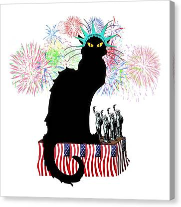Patriotic Le Chat Noir Canvas Print by Gravityx9 Designs