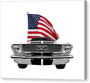 Patriotic Mustang On White Canvas Print by Gill Billington