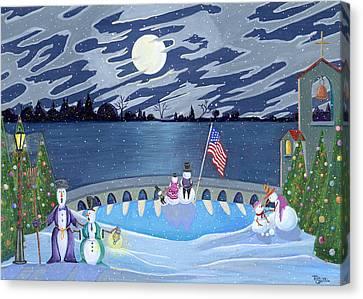 Patriotic Snowmen Canvas Print by Thomas Griffin