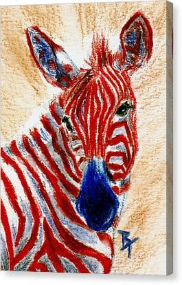 Patriotic Zebra Aceo Canvas Print by Brenda Thour