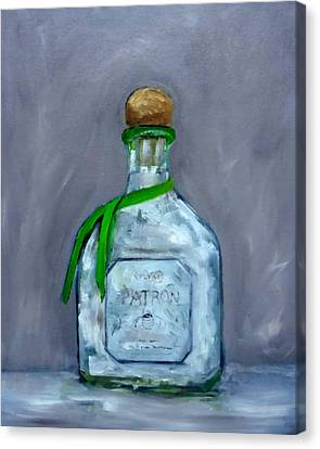 Patron Silver Tequila Bottle Man Cave  Canvas Print by Katy Hawk