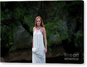 Patty Holding White Dress Out Of Water Canvas Print by Dan Friend