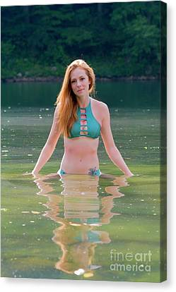 Patty Standing In The Water Canvas Print by Dan Friend