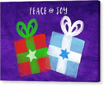 Peace And Joy- Hanukkah And Christmas Card By Linda Woods Canvas Print by Linda Woods
