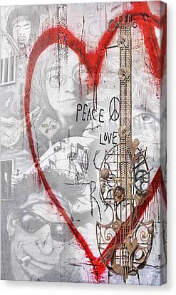 Peace Love Rocknroll Canvas Print by Joachim G Pinkawa