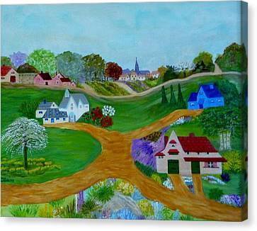 Peaceful Country Lanes Canvas Print by Anke Wheeler