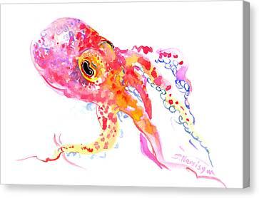 Peach Color Octopus Canvas Print by Suren Nersisyan
