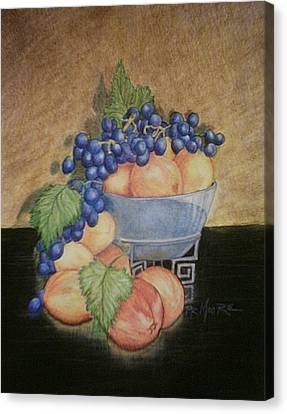 Peaches And Grapes Canvas Print by Patricia R Moore
