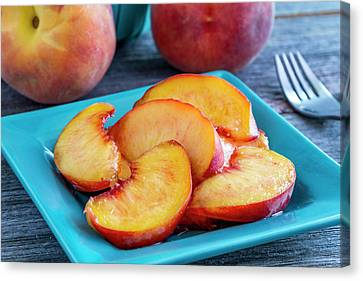 Peaches For Lunch Canvas Print by Teri Virbickis