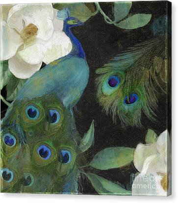 Peacock And Magnolia II Canvas Print by Mindy Sommers