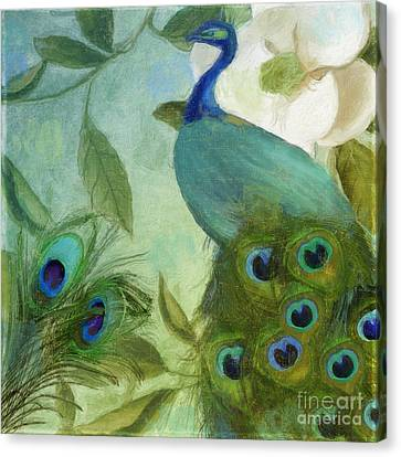 Peacock And Magnolia IIi Canvas Print by Mindy Sommers