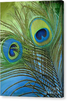 Peacock Candy Blue And Green Canvas Print by Mindy Sommers