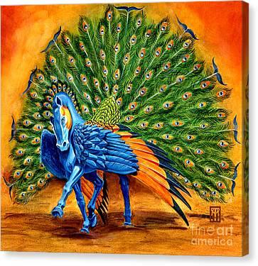 Peacock Pegasus Canvas Print by Melissa A Benson