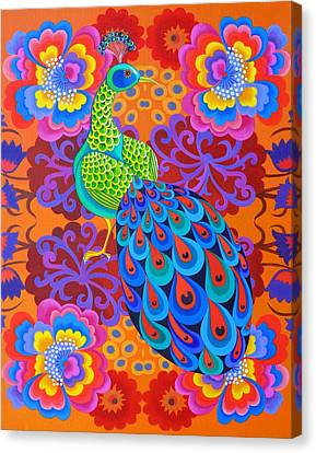Peacock With Flowers Canvas Print by Jane Tattersfield