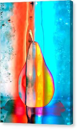 Pear On Ice 02 Canvas Print by Carol Leigh