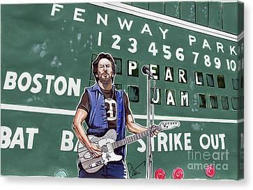 Pearl Jam And Eddie Veddar At Fenway Park Canvas Print by Dave Olsen