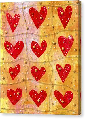 Pearly Hearts Valentine Canvas Print by Carol Leigh