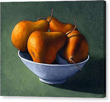 Pears In Blue Bowl Canvas Print by Frank Wilson