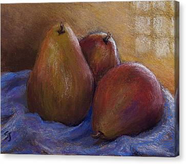 Pears In Natural Light Canvas Print by Susan Jenkins