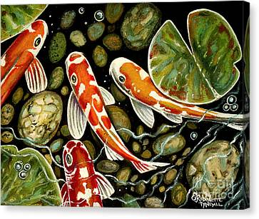 Pebbles And Koi Canvas Print by Elizabeth Robinette Tyndall