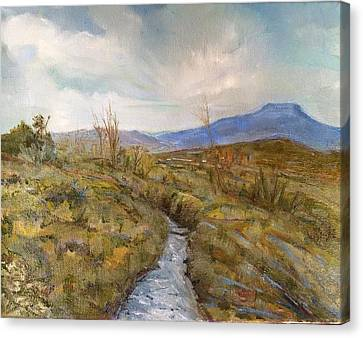 Pedernal From The Rio Canvas Print by Jo Anne Neely Gomez
