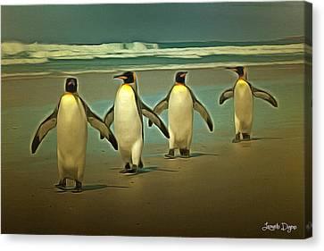 Penguins In The Beach Canvas Print by Leonardo Digenio