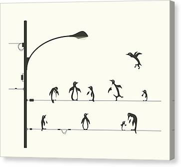 Penguins On A Wire Canvas Print by Jazzberry Blue