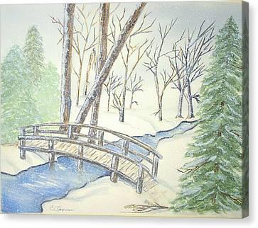 Pennsylvania Winter With Bridge Canvas Print by Constance Larimer