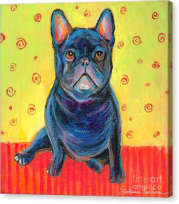 Pensive French Bulldog Painting Prints Canvas Print by Svetlana Novikova