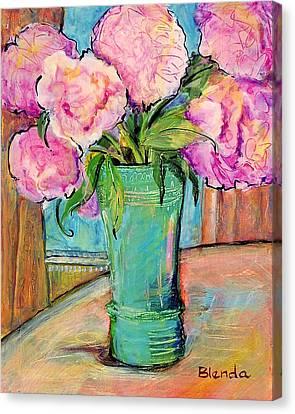 Peony Bouquet In A Window Canvas Print by Blenda Studio