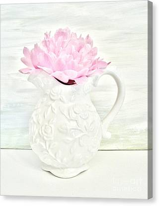 Peony In A Pitcher Canvas Print by Marsha Heiken