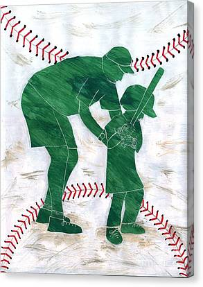 People At Work - The Little League Coach Canvas Print by Lori Kingston